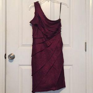 London Times, burgundy cocktail dress
